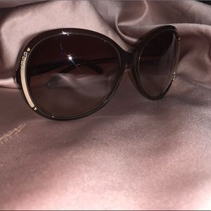 Fendi Oval Sunglasses Black Gold Brown 100% Auth
